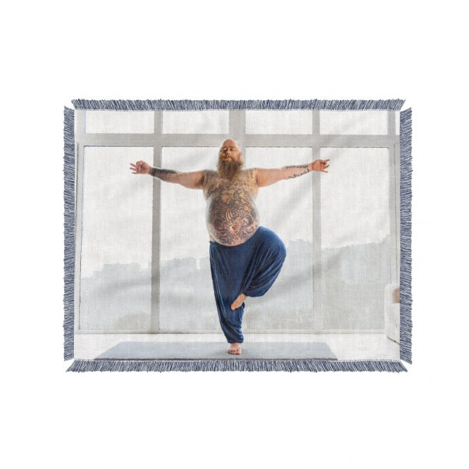 yoga pose custom woven photo blanket