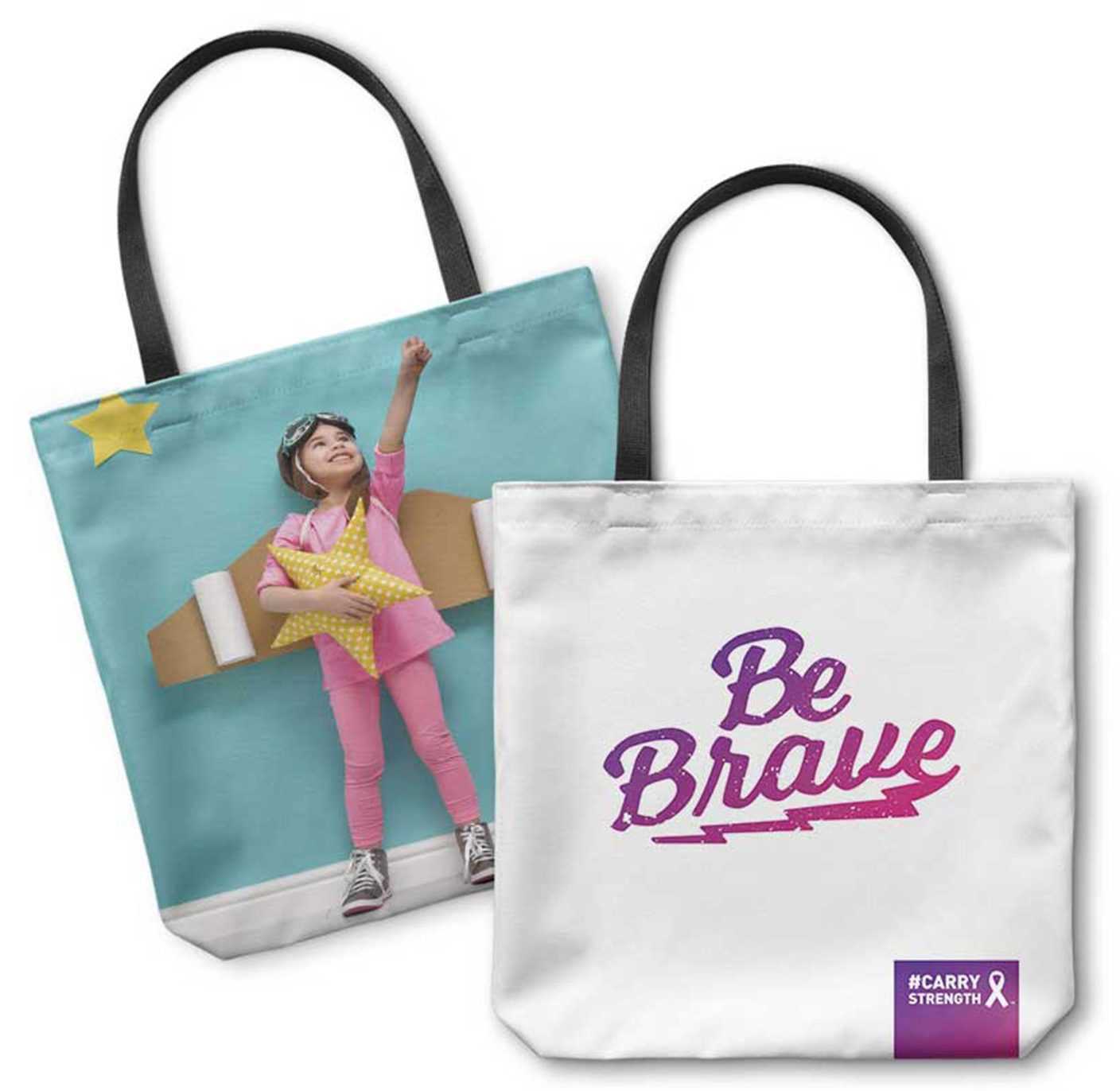 be brave custom photo tote bag