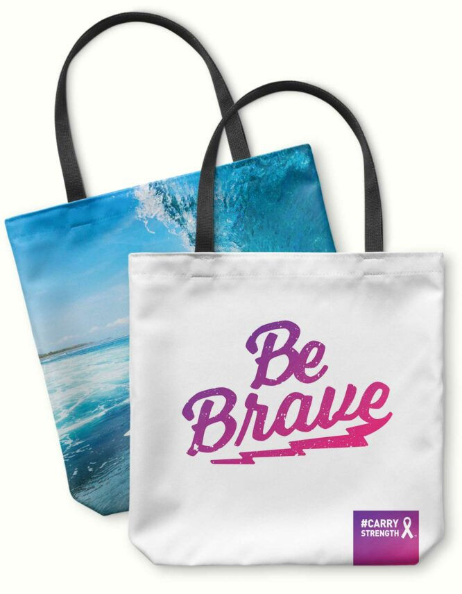 be brave and fight cancer tote bag