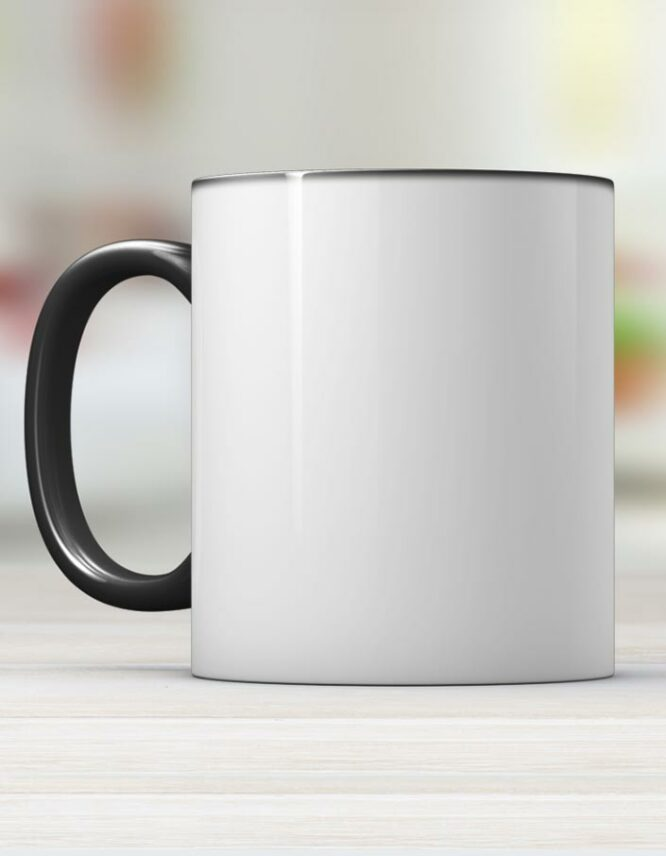 black ceramic photo mug