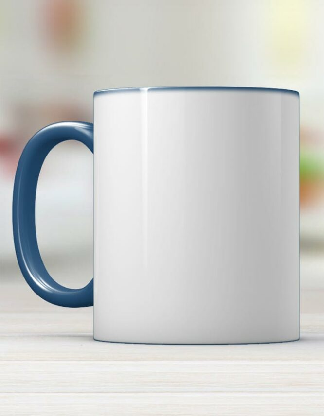 dark blue ceramic photo mug