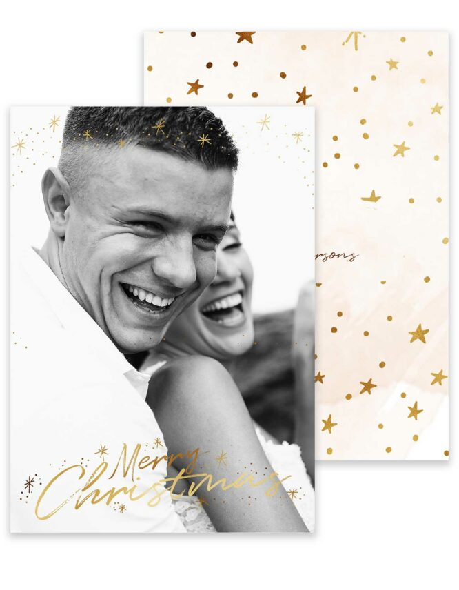 a golden christmas photo card