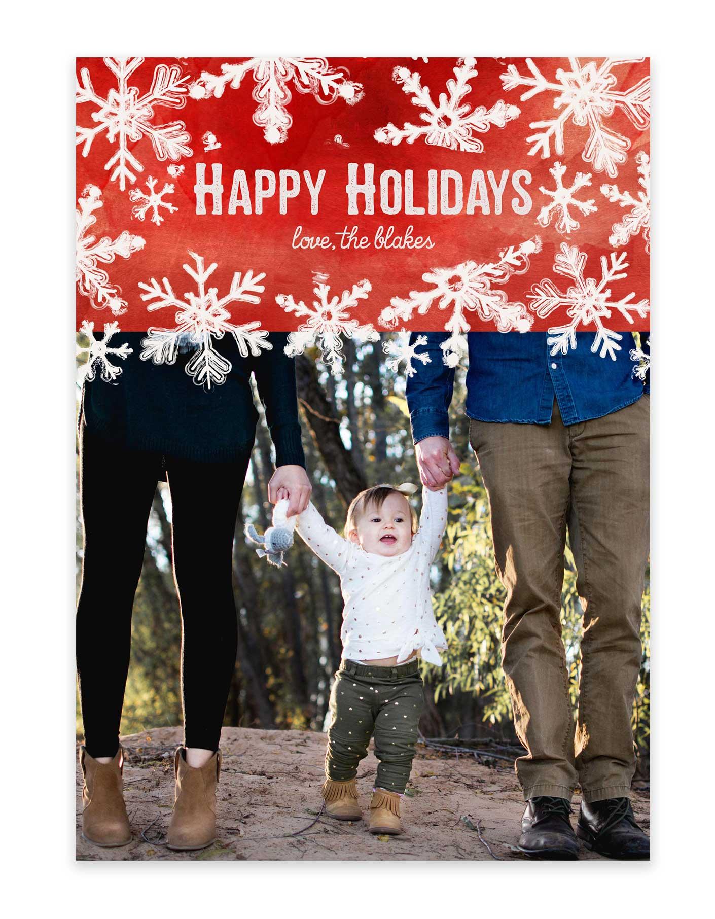 Custom Christmas Cards.Happy Holidays From The Family Christmas Card