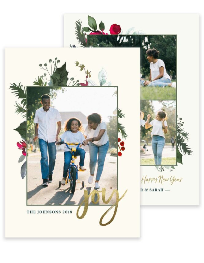 holiday joy double sided greeting card