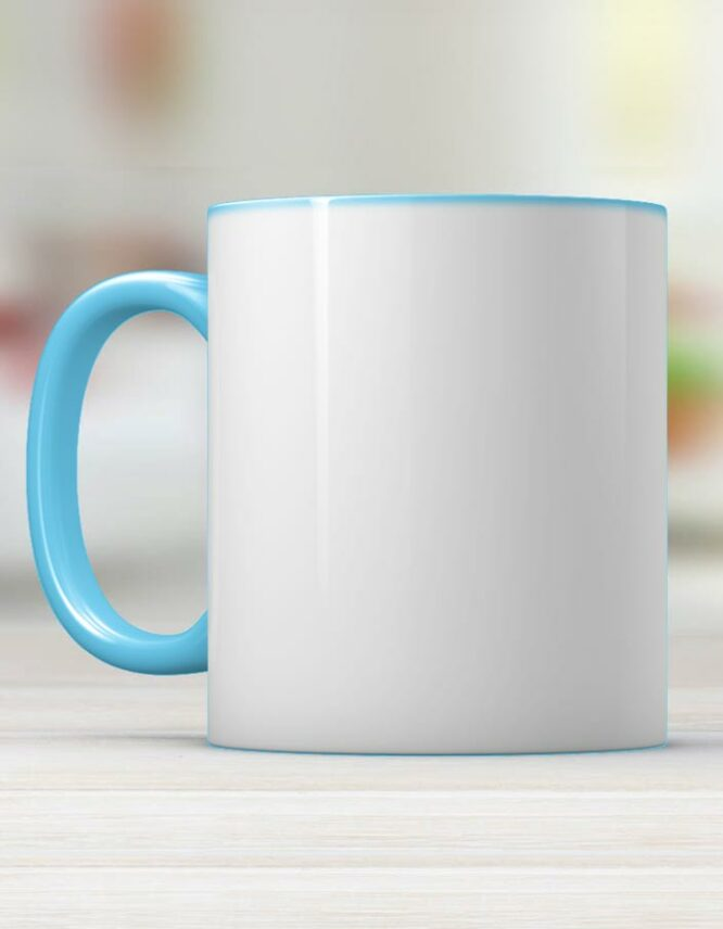 light blue ceramic photo mug