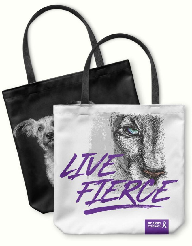 live fierce fight cancer photo tote bag