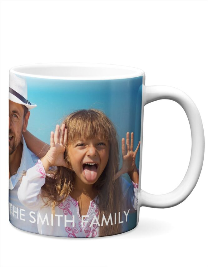 Personalized Love Script Mug with family photo from goodprints