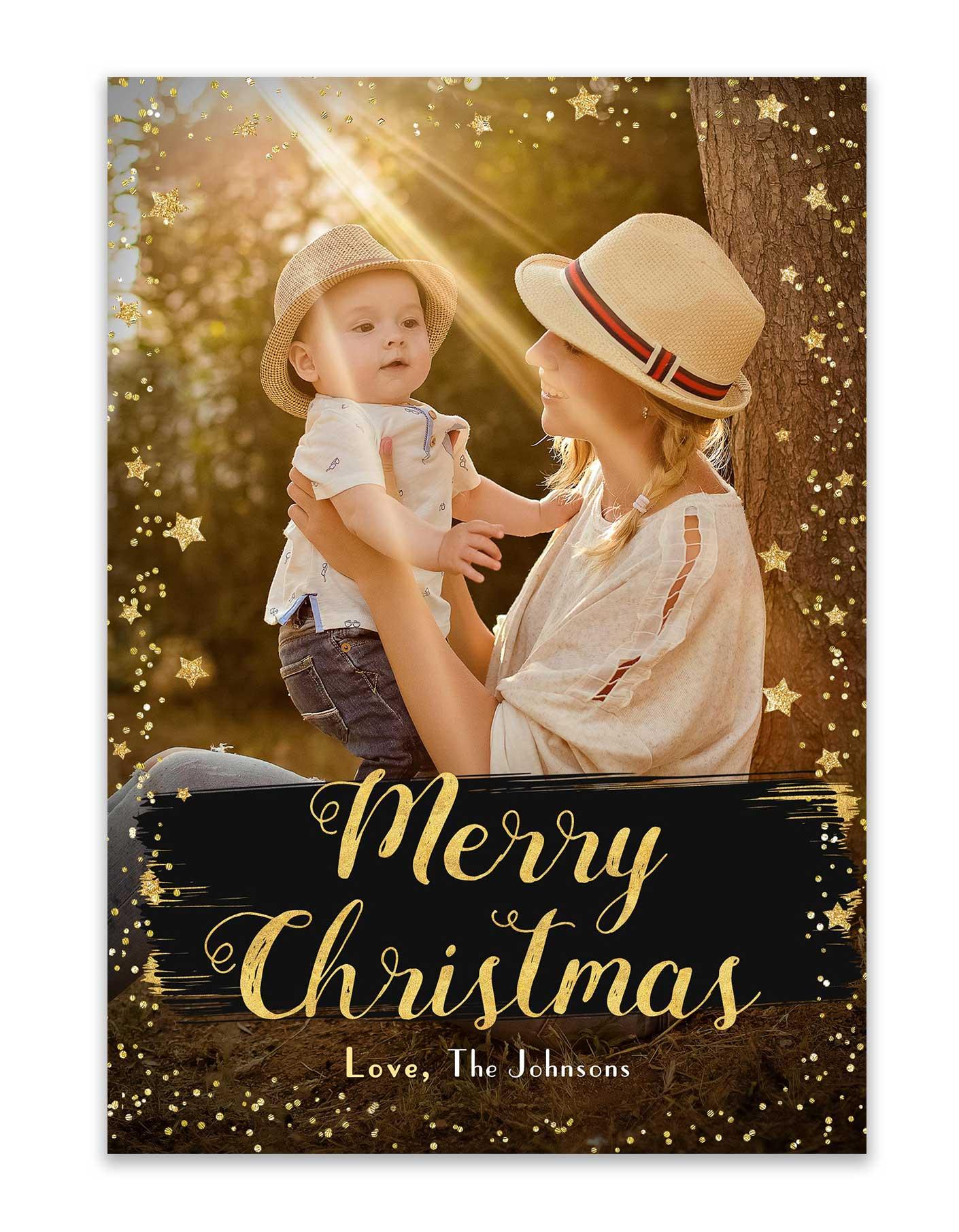 Custom Christmas Cards.Merry Christmas Stars Card