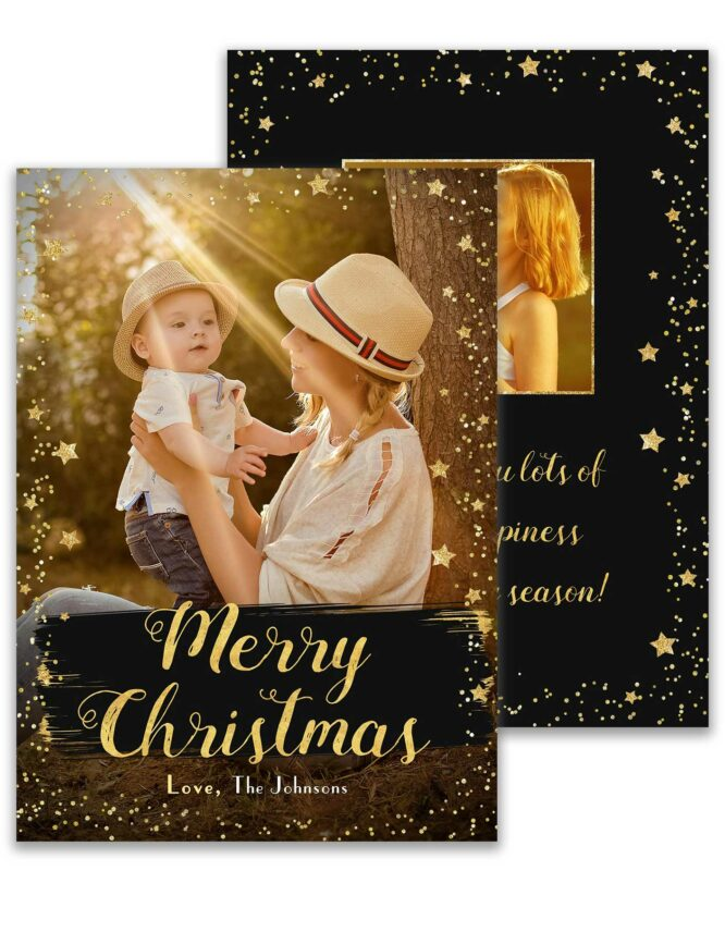 merry Christmas double sided photo card