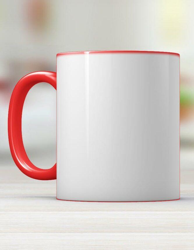 red photo mug