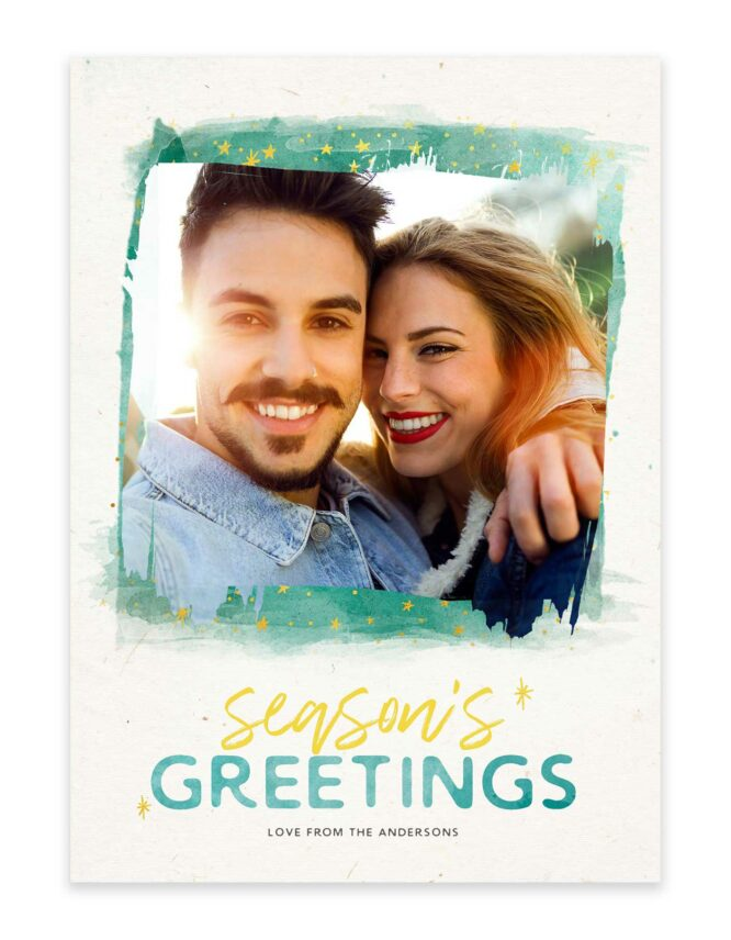 custom holiday greeting card watercolor design