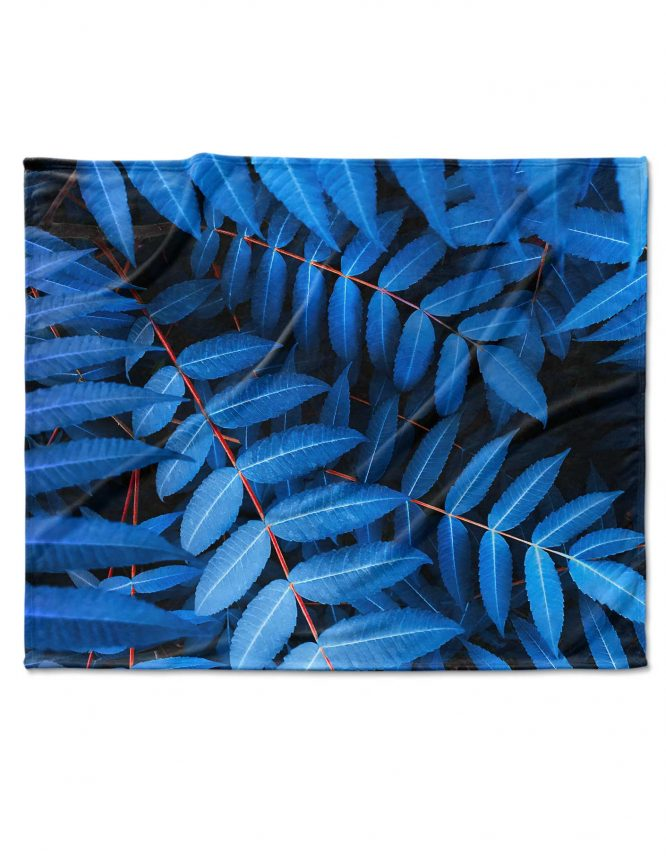 blue leaves on custom photo blanket