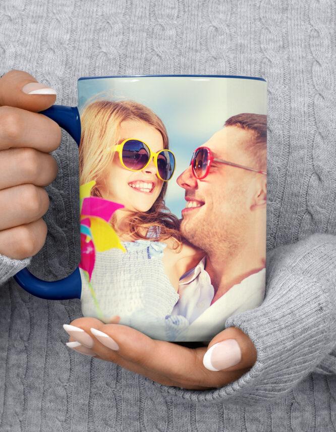 15oz Custom Dark Blue Photo Mug