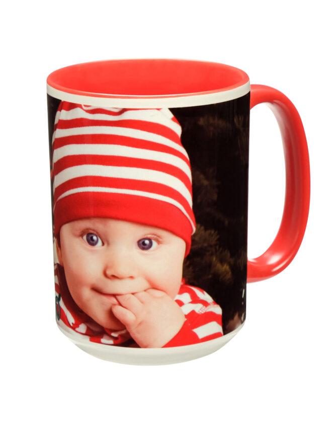 15oz Custom Red Photo Mug