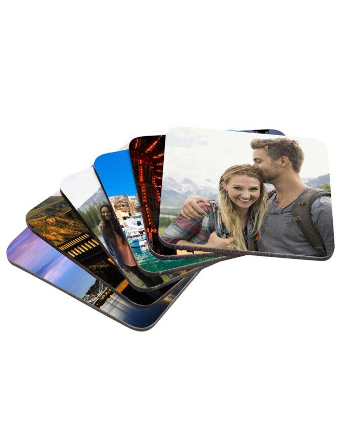 personalized photo coasters multi image set