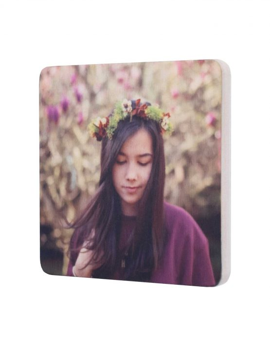 wood square photo magnet