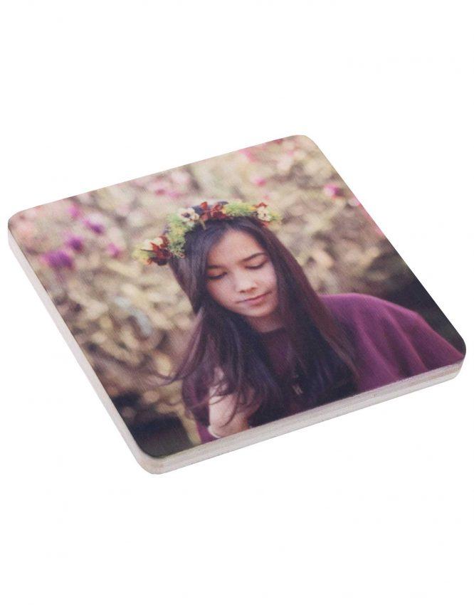 wood square photo magnet