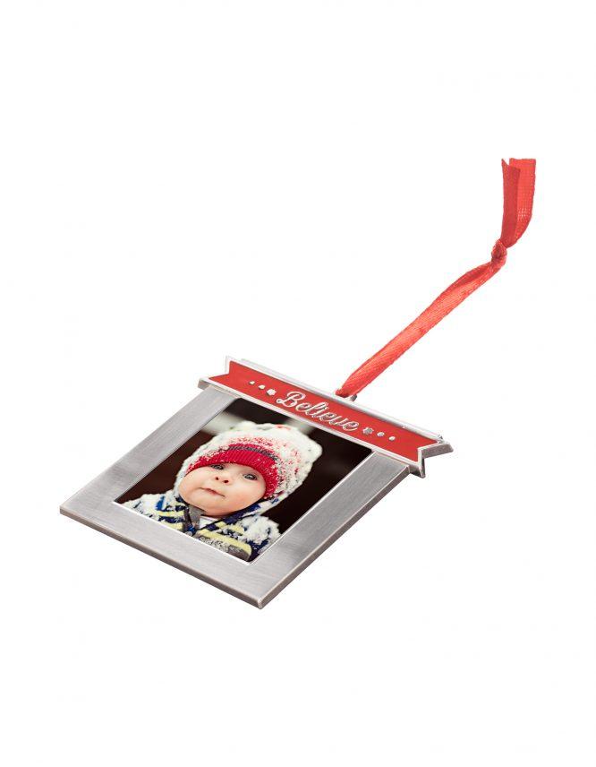 Believe Custom Metal Photo Ornament