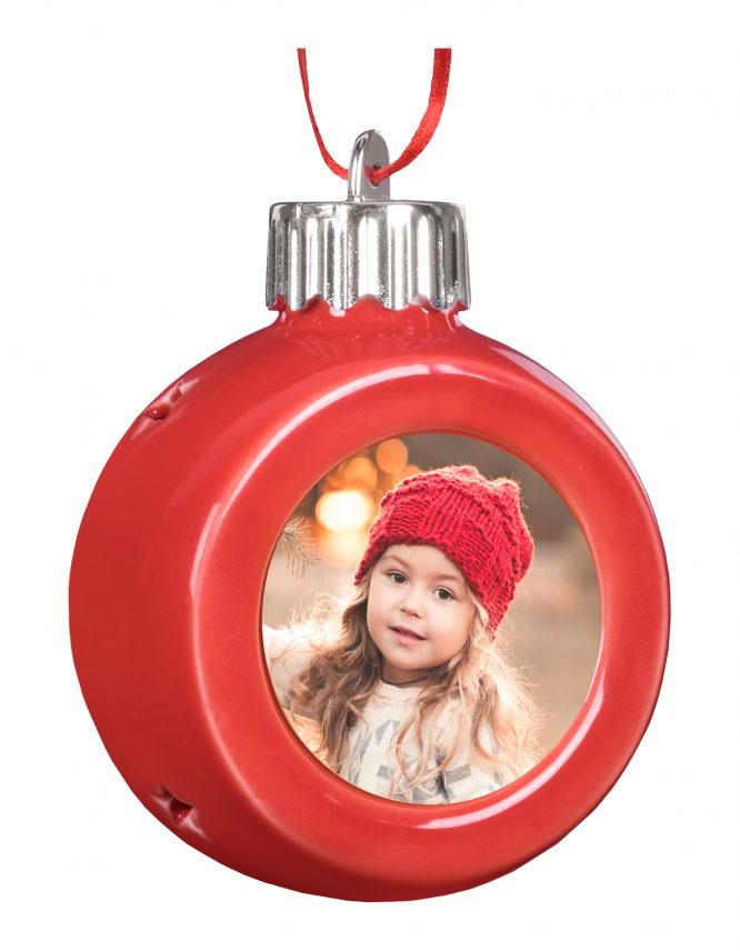 Red Globe LED Photo Ornament