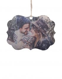 scalloped wood custom photo ornament