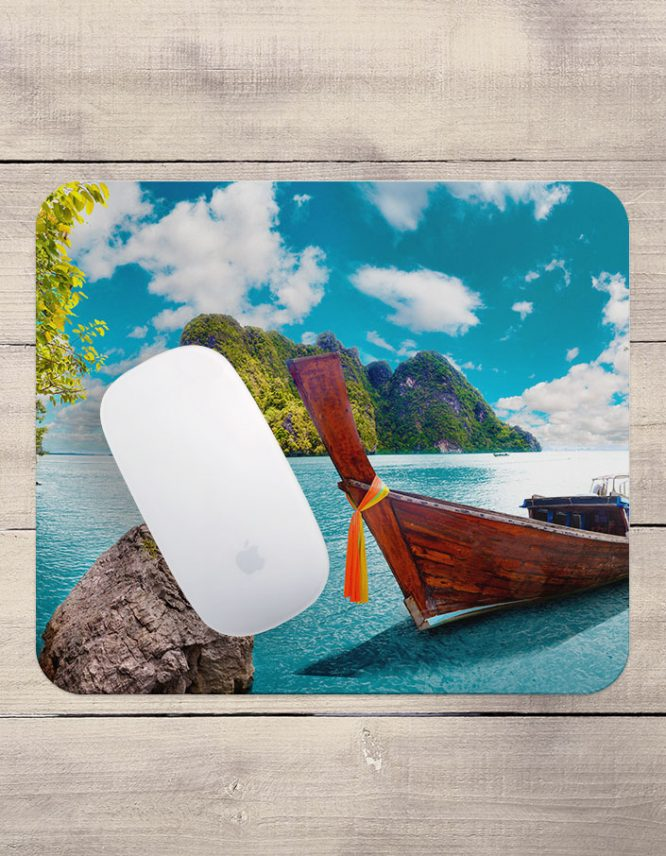 mousepad with vacation photo printed on it